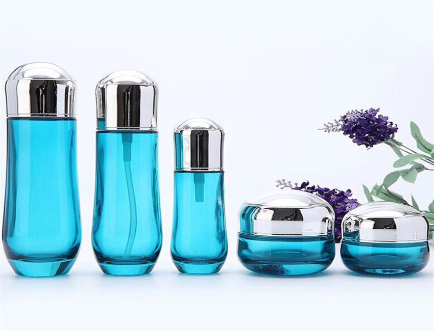 Blue Glass Cosmetic Bottles Wholesale